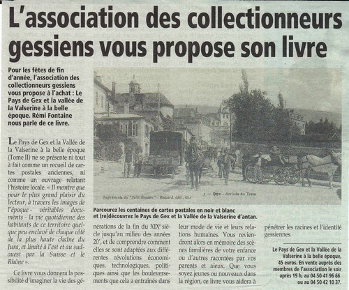 Association Collectionneurs Gessiens article livre 2011
